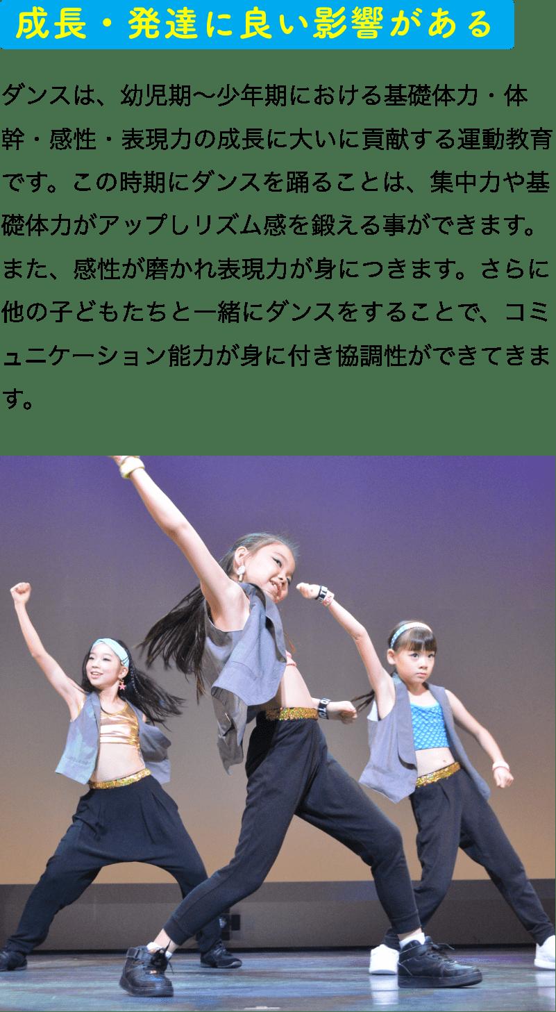 成長・発達に良い影響がある ダンスは、幼児期~少年期における基礎体力・体幹・感性・表現力の成長に大いに貢献する運動教育です。この時期にダンスを踊ることは、集中力や基礎体力がアップしリズム感を鍛える事ができます。また、感性が磨かれ表現力が身につきます。さらに他の子どもたちと一緒にダンスをすることで、コミュニケーション能力が身に付き協調性ができてきます。
